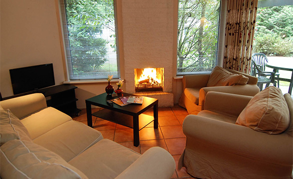 Wood burning in a open fire in the lounge of a chalet at Het Verscholen Dorp/