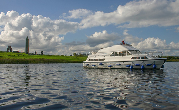 Carrickcraft's Waterford Class cruiser cruising on Lough Erne by Devenish Island/