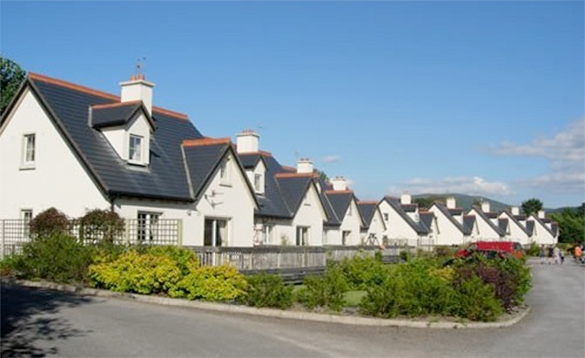 row of white painted houses with grey slate roofs and lawns and bushes to the front/