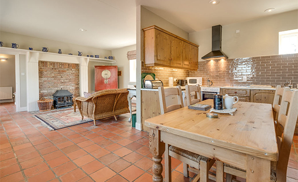 Living/dining kitchen in the Coach House on Belle Isle Estate/