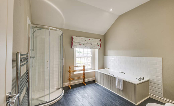 Luxurious bathroom in the Coach House on Belle Isle Estate /