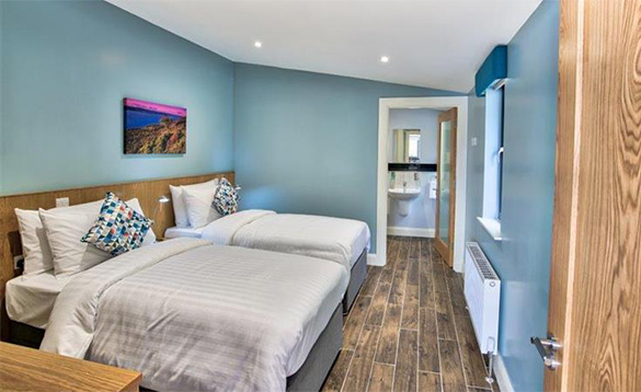 En-suite bedroom at the Killyhevlin self-catering chalets/