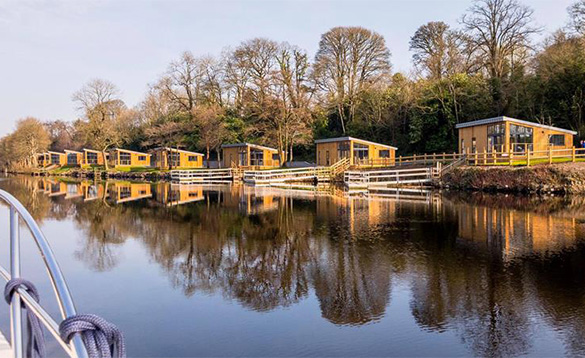 Row of self-catering chalets at Killyhevlin Hotel/
