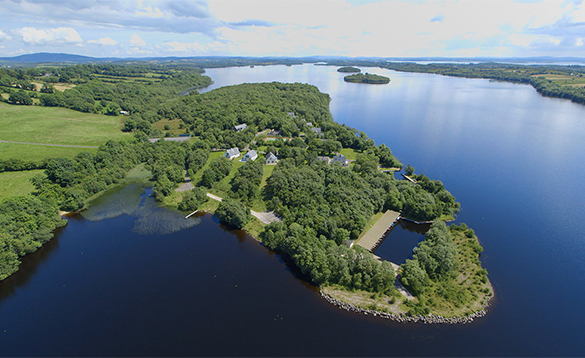 Aeriel view of Finn Lough on the shores of Lough Erne/
