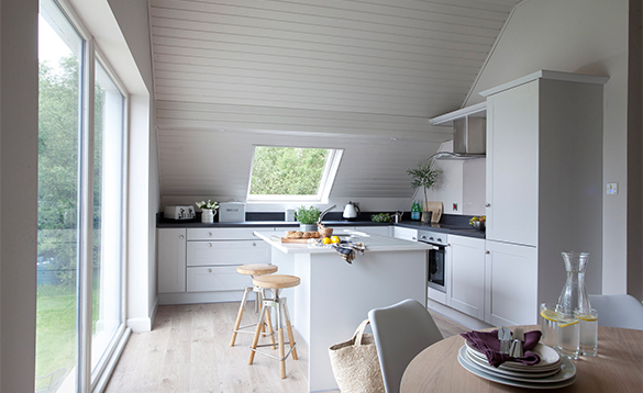 Kitchen in a self-catering lodge at Finn Lough/