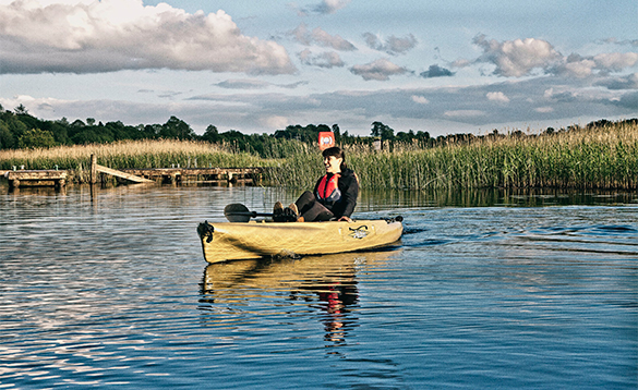 Lady in a canoe on Lough Erne/