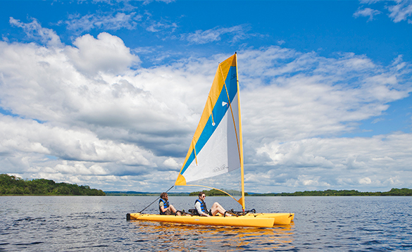 Two men sailing on Lough Erne/