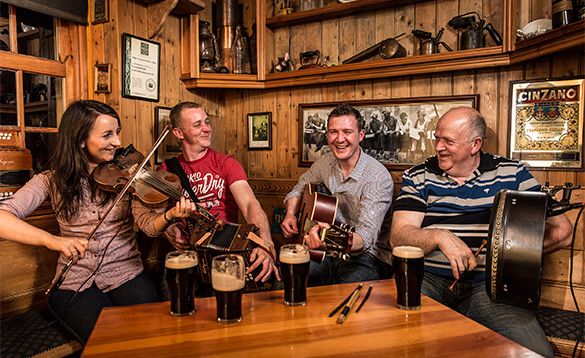 Group of traditional Irish musicians in a pub in Co Fermanagh/