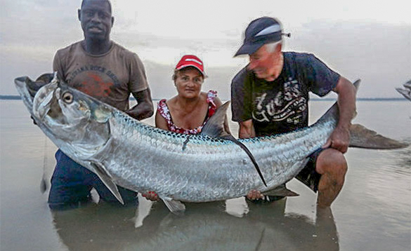 Three anglers holding a recently caught tarpon in the Bijagos Archipelago Guinea Bissau /