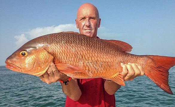 Angler holding a Cubera snapper caught in Guinea Bissau/