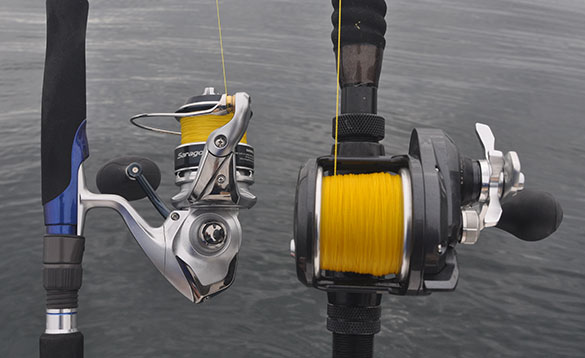 Close up of two reels on fishing rods/