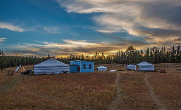 Campsite with Yurts, traditional Mongolian tents/