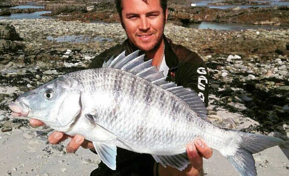 Angler on a rocky shoreline in South Africa holding a recently caught grunter fish/