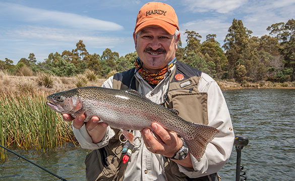Lake fly fishing for rainbow trout/