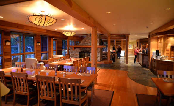 Dining area at King Pacific Lodge in British Columbia, Canada/