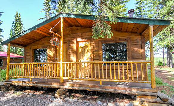 Wooden chalet accommodation at Kluane Wilderness Lodge/