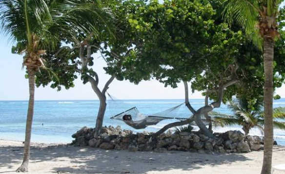 Person relaxing on a hammock between palm trees on a sandy beach in the Caribbean/