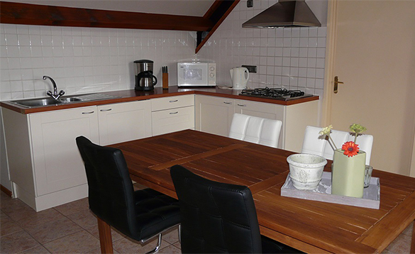 Dining/kitchen in an apartment at De Visotter holiday park/