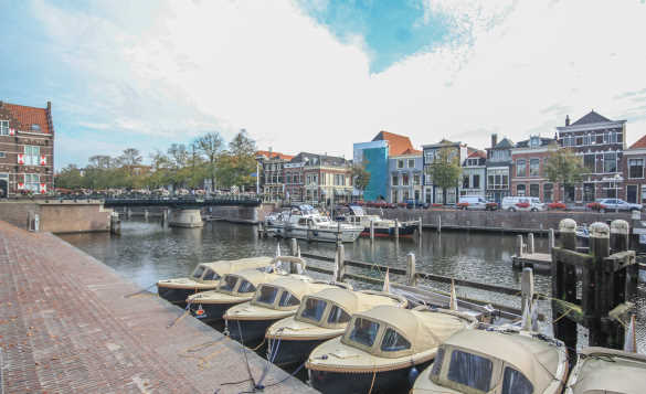 Boats moored in the harbour in Gorinchem in South Holland/
