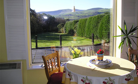 Table by a window with views over the Wicklow mountains/