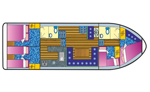 Plan of the inside of Carrickcraft's Fermanagh Class cruiser/