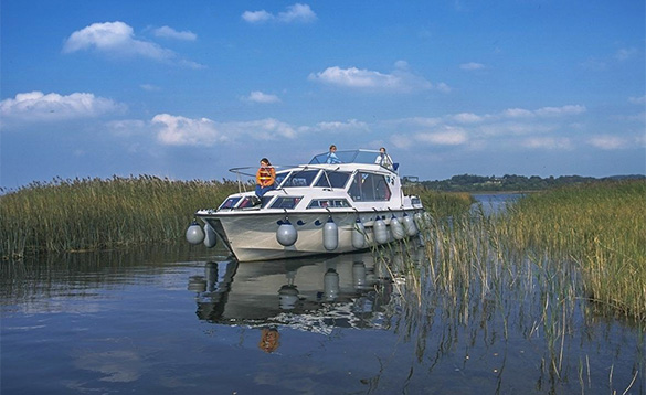 Carrickcraft's Wave Earl cruiser cruising between reeds/