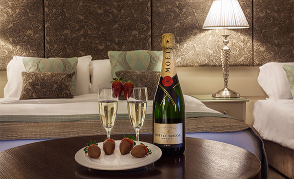 Champagne and chocolate covered strawberries on a table in a room at the Breffni Arms Hotel, Arva/