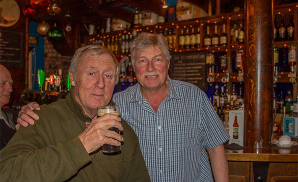 Two gents enjoying a pint of Guinness in the Anglers Rest at Ballyconnell/