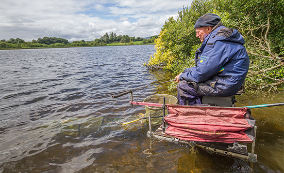 Angler fishing on a lake in Co Cavan/