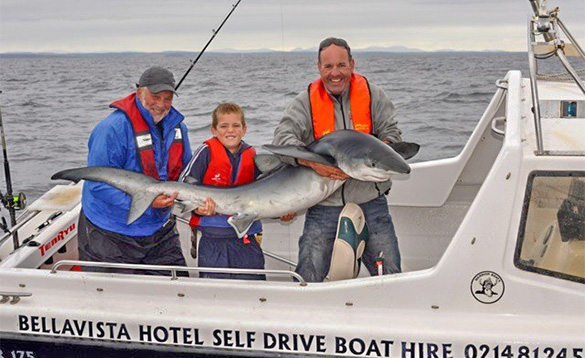 two anglers and a boy standing on the deck of a boat out at sea holding a blue shark/