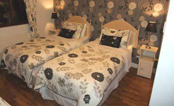 bedroom with two single beds with brown and fawn patterned quilts/