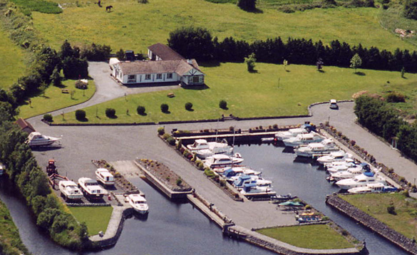 Aerial view of a marina in Ireland/