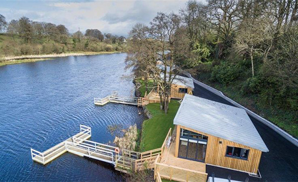 Killyhevlin self-catering chalets on the edge of Lough Erne with boat moorings/
