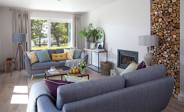 Lounge in a self-catering lodge at Finn Lough/