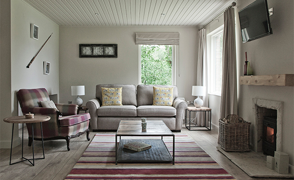 Lounge in a self-catering cottage at Finn Lough/