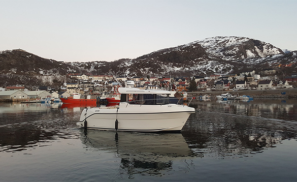 Boat moored on a fjord in north Norway/