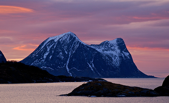 Snow capped mountain in North Norway/