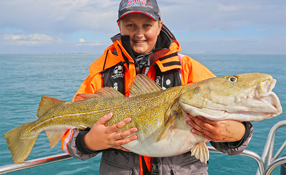 Young angler holding a cod caught in Northern Norway/