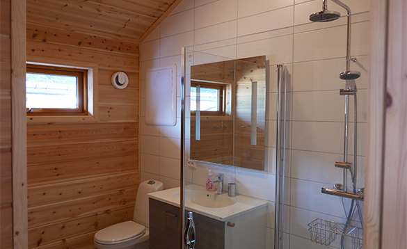 Bathroom in cabin at Mikkelvik in North Norway/