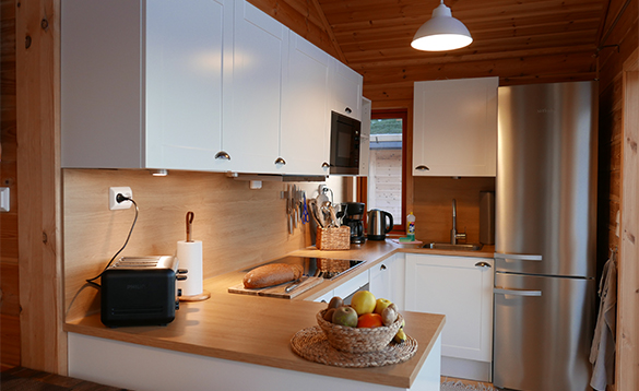 Kitchen in cabin at Mikkelvik Brygge in North Norway/