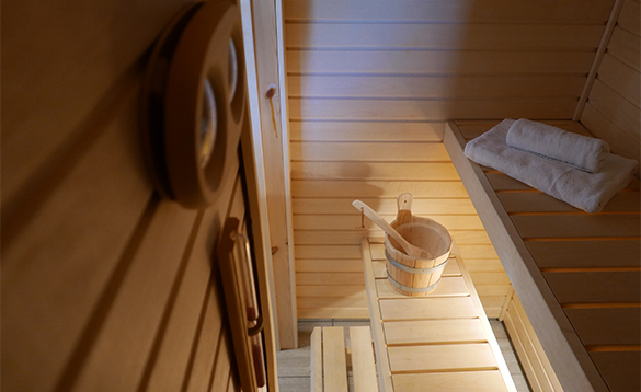 Sauna in cabin at Mikkelvik Brygge in north Norway/