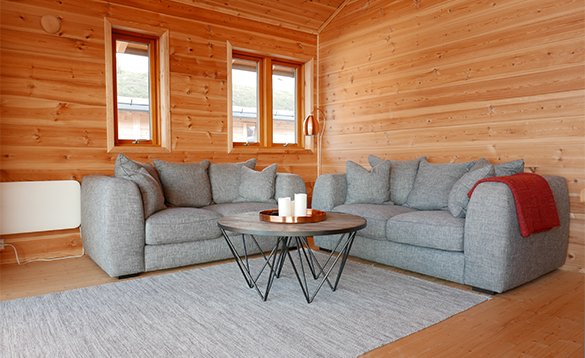 Living room in cabin at Mikkelvik Brygge in North Norway/