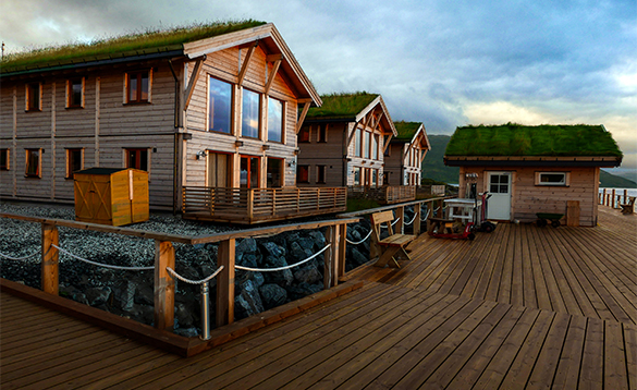 Wooden chalets at Mikkelvik Brygge in Norway/