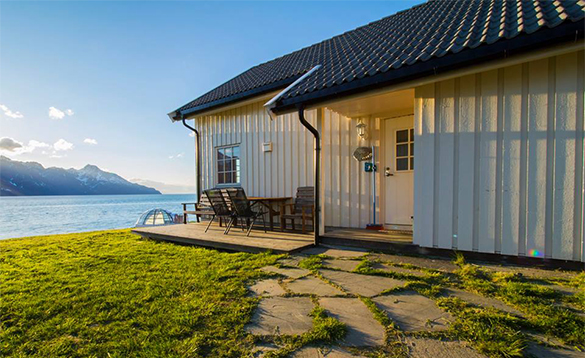Cabin with view over a fjord in north Norway/