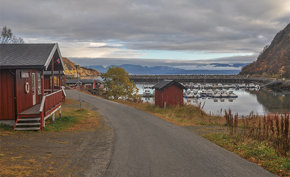 Road leading past cabins towards the harbour at Skjervoy/