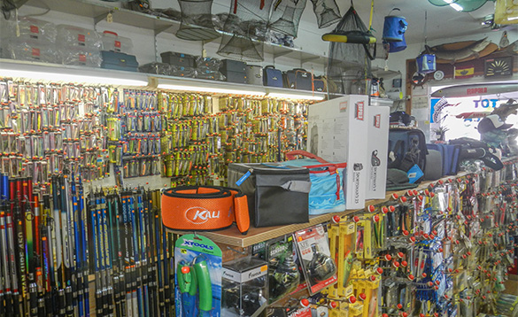 Interior of a fishing tackle shop/