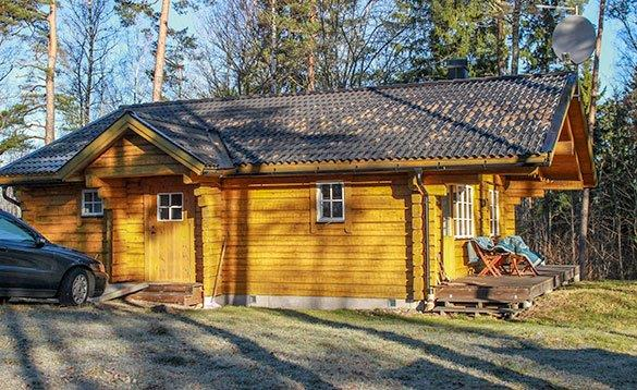 Wooden log cabin in Sweden/