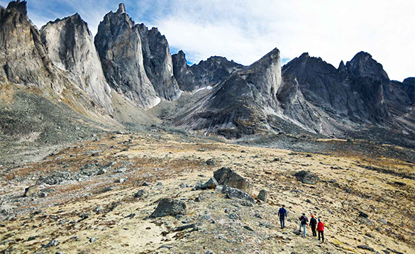Group of hikers exploring the remote valleys of Tombstone Territorial Park/