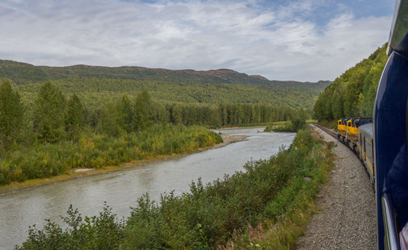 Alaskan railroad train travelling along the side of a river with forestted hills in the distance/