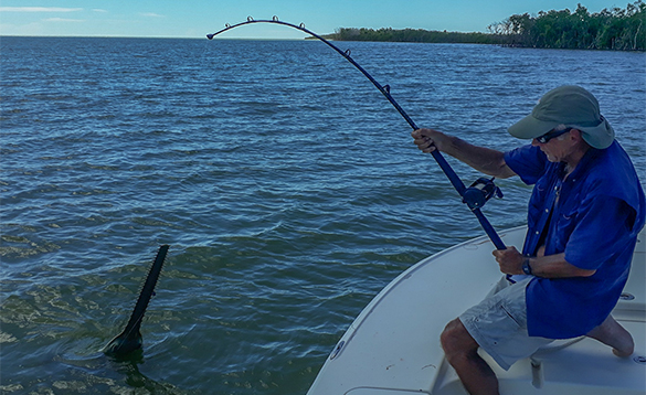 Angler fishing from a boat in Florida/